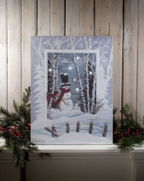 LED Canvas Bild Lighted Frosty's Snowball