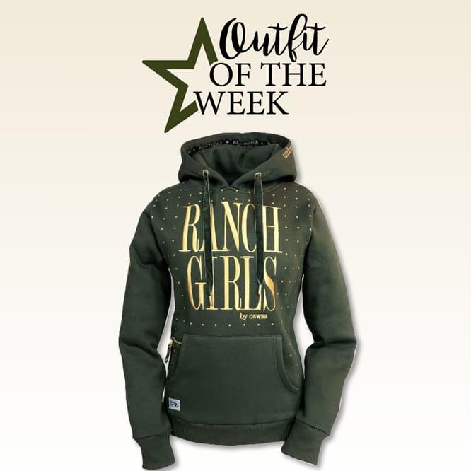 Ranchgirl Hooded Sweat Jacket Dot khaki