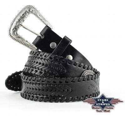 Stars& Stripes black braided Ledergürtel