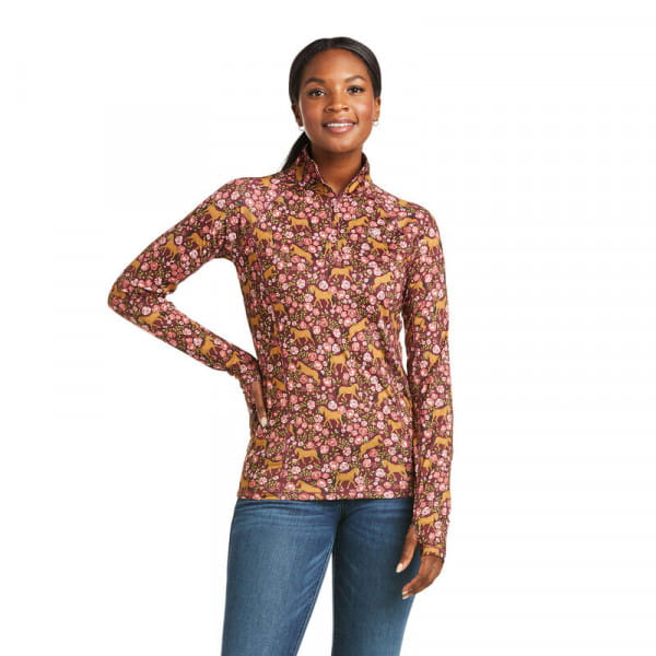 Ariat Womens Lowell 2.0 1/4 Zip Baselayer windsor wine floral
