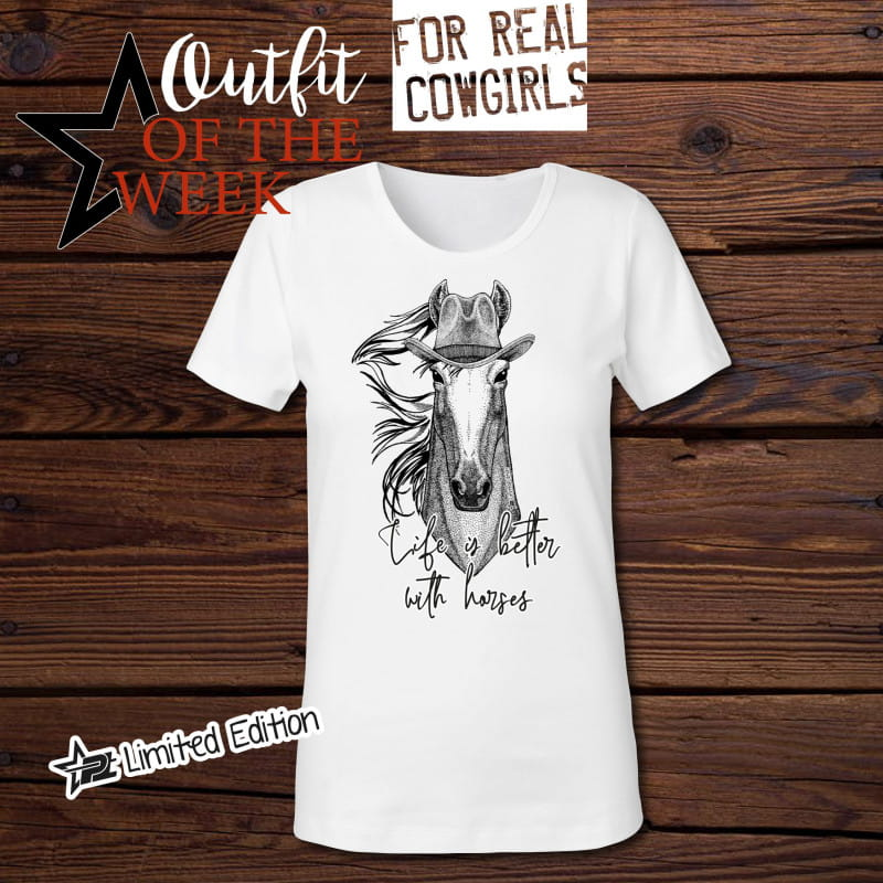 """PT-Limited-Edition """"Life is better with horses"""" T-Shirt"""