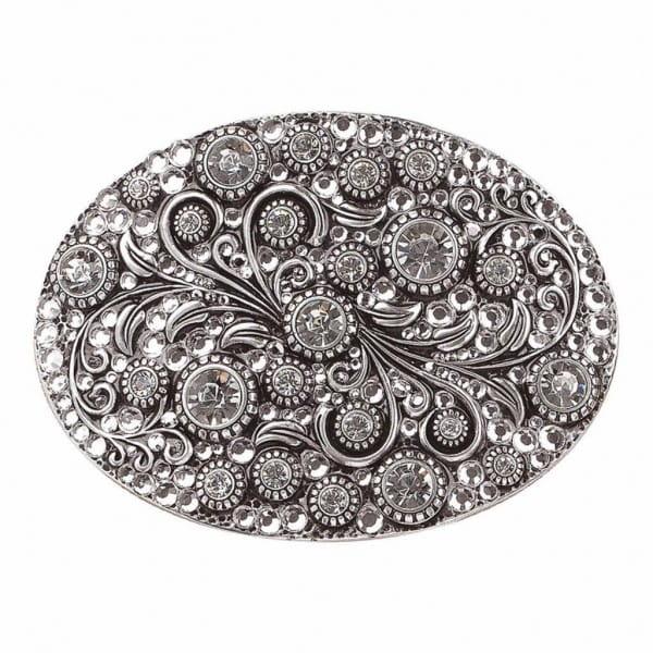Womens Buckle Oval Chrystal Silver