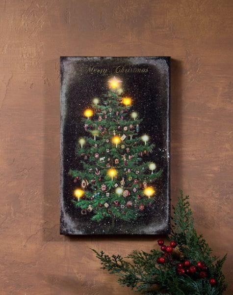 LED Canvas Bild Lighted Vintage Christmas Tree