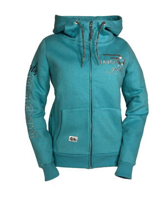 Ranchgirl Button Up Hooded Sweat Jacket Hannah peppermint