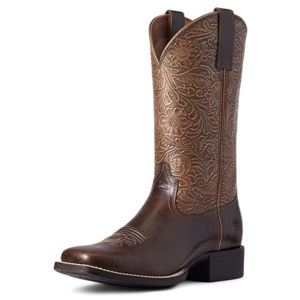 Ariat Womens Round Up Wide Square Toe Western Boot arizona brown