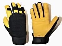 Premium Cowhide Leder Handschuhe Black Spandex