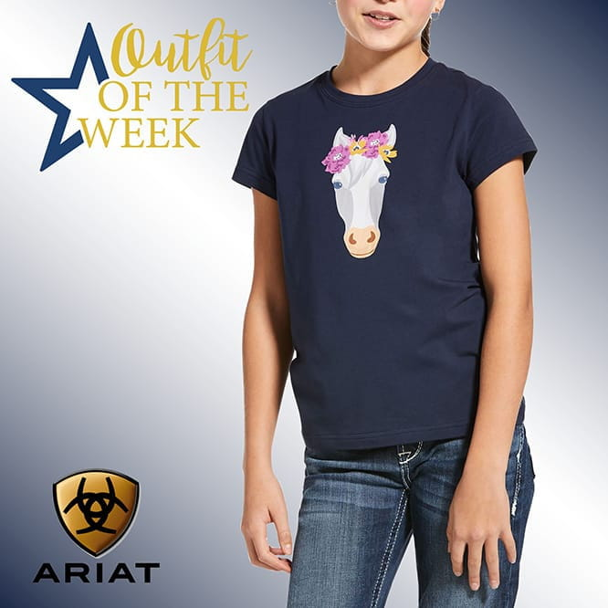 Ariat Youth Flower Crown T-Shirt navy
