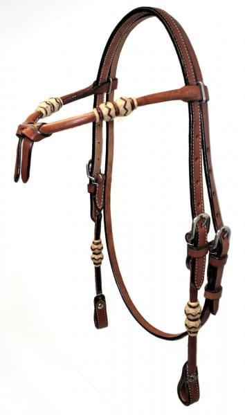 Westernkopfstück mit Rohhaut und knotted Stirnband